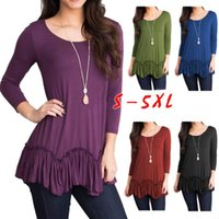 Women Solid Ruffle Tops 5 Colors Long Sleeve Summer Long Sle...