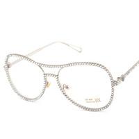 2019 óculos de sol de luxo óculos de Diamante senhoras tendência espelho plano Europa e nos Estados Unidos grande rua tiro anti-radiação sapo espelho