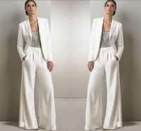 2020 New Bling Sequins Ivory White Pants Suits Mother Of The...
