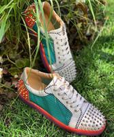 Plano de moda Ac Seavaste 2 Plano Júnior Spikes Orlato homens vermelhos fundos homens Low Top genuína gz couro Casual sapatos vermelhos único corredor