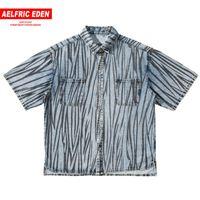 Aelfric 에덴 힙합 스트라이프 데님 셔츠 남성 2020 여름 하라주쿠 대형 느슨한 패션 짧은 소매 셔츠가 스트리트 탑