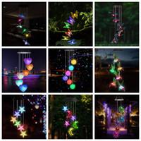 LED Solar Wind Chime Kristallkugel Kolibri Windkime Licht Farbe wechseln Wasserdichte Hängende Solarlicht für Hausgarten
