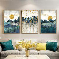 3pcs nórdica geométrica abstracta del paisaje de montaña de la pared del arte de la lona Arte de la pintura de oro de Sun Impresión del cartel cuadro de la pared de la sala de estar