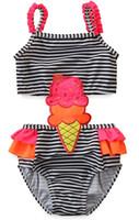 2020 Badebekleidung 2-7Y Kinder Eiscreme Badeanzug Sommer Mädchen Gestreifter Camis Strap Einteiliges Baby Mädchen Badeanzug Badeanzüge Badeanzug