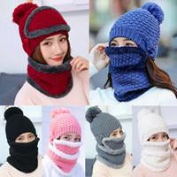 Estrenar invierno de las lanas que hace punto caliente Ultra Beanie Hat Scarf paño grueso y suave caliente del pasamontañas del casquillo de esquí de nieve para Kid Hombres Mujeres