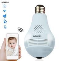 2019 INQMEGA Luz LED de 360 grados 960P Inalámbrico Panorámico Seguridad para el hogar Seguridad WiFi CCTV Fisheye Bombilla Lámpara Cámara IP Dos vías Audio