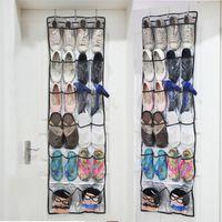 Складная обувь Организатор Сумка Обувь для хранения Стойка Behind Door висячей Обуви Нетканых хранений Держатели мешок с крючками DH0964