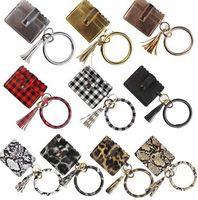 PU cuir Bracelet Carte Sac Portefeuille Keychain Porte Leopard Bracelet Holder Bracelet de carte de crédit en cuir avec pompons EEA1665