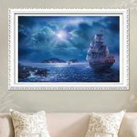 Частичный Круглый Drill 5D DIY Алмазные Картина Шитье Лодка Алмазные вышивки крестом Мозаика Home Decor Творческий подарок