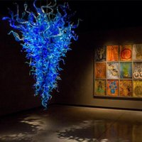 Lámparas Artísticas Azul Azul Murano Lámpara de candelabros Moderno Venta al por mayor LED Lámpara de candelier de cristal de cristal
