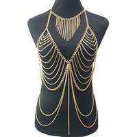 مثير سيدة سلسلة الطبقات كروس الجسم لون الذهب متعدد الطبقات قلادة الشرابة بيكيني الخصر سلسلة البطن بوهو مجوهرات