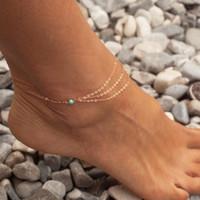 Halhal Vintage Püskül Ayak Bileği Zincir Kadın Çok Katmanlı Altın Renk Bilezik Bacak Bohemia Ayak Takı