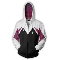 Mode-capuche Halloween 3D imprimé Spider Gwen Stacy Spider Hoodies Unisexe Streetwear Hommes Casual Zip Up Sweat-shirt Costume Manteau