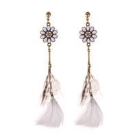 Поставка серег с цветком из перьев женский европейский и американский ретро длинные экзотические серьги ветер
