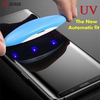 UV-Kleber-Schirm-Schutz für Samsung-Galaxie Note8 Anmerkung 9 S8 S9 + Plus S7 Edge-Full Cover Nano Optik Curved gehärtetes Glas