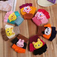 Рождество Дети перчатки без пальцев 3D животных Printed Дети Трикотажная конфеты цвет перчатки Мальчик Девочка Студенческое Зимние теплые перчатки WY204Q-2