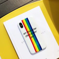 For iphone x phone case Ins style colorful frosted rainbow p...