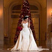2020 Кружева Русалка Свадебные платья со съемными юбки Sheer Cap рукава Тюль аппликация Свадебные платья с пуговицами BA7214