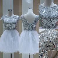Prom Dresses Neue Stil Ein-Kragen-Pop-Pailletten glänzenden Rock sexy zurück tiefem V-Kragen Kurzarm billige benutzerdefinierte Paket Hochzeiten Veranstaltungen
