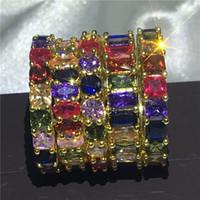 vecalon 5 Styles Eternity Bague Full multicolore 5A cz Gold Filled 925 Bague De Mariage En Argent Anneaux pour femmes Bijoux Hommes