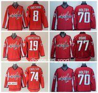 Männer Washington Capitals Trikots Eishockey 8 Alex Ovechkin 19 Nicklas Backstrom 70 Braden Holtby 74 John Carlson 77 TJ Oshie Trikot Rot