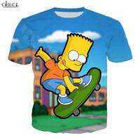 Мультфильм Аниме The Simpsons Футболка Мужчины Женщины 3D печати Барт Симпсон с коротким рукавом Толстовка Harajuku Уличная Tops
