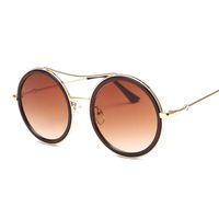 Luxury-New Arrival Gafas redondas con montura para mujer Diseñador de la marca Vintage Retro Big Frame Sunglasses Gafas de sol femeninas para mujer Shades UV400