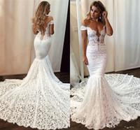Sin espalda de hombro de los vestidos de boda completo cordón de la sirena elegante con el botón cubierto Vestidos de novia Largo 2020