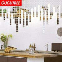 Decorate Home 100pcs 3D geometry cartoon mirror art wall sti...