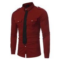 2019 New Spring Autumn Formal Shirt Men Long Sleeve Fake Tie Solid Color  Shirt Men Slim Chemise Homme Manche Longue 0a4451ee17c