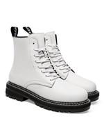 2020 Deri Platformu Martin Çizme Peluş Dantel-up Siyah Kadın Ayakkabı beyaz su geçirmez Moda Artış lüks tasarımcı Kadınlar Çizme büyüklüğü 36-40