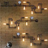 Americana Industrial LOFT Lámparas de pared del hierro del moho del tubo de agua lámpara de pared Retro Bar Decoración del café del aplique de la lámpara de iluminación del pasillo Balcón