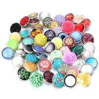 Venta al por mayor 10 unids / lote Snap Button Jewelry Mix Muchos Estilos 18mm Resina Snap Charms Fit 18mm DIY Pulsera Reemplazable Botón