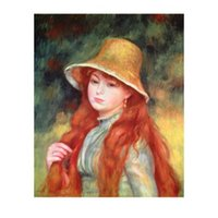 dipinto a mano Bella donna giovane ragazza con lunghi capelli Pierre Auguste Renoir dipinti figura opera d'arte per la decorazione della parete ufficio