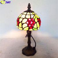 Fumat Tiffany Dragonfly Uva Desk Lamp Multi Table colorato Vetrate classica leggera Flower Art Home Decor Nordic Illuminazione