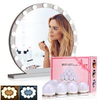 Espejos compactos Hollywood LED Maquillaje de maquillaje Bombilla de luz 30 Tipo de brillo Vanity Strip Lámpara de pared Mesa de escritorio Baño