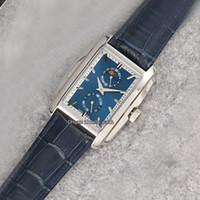 Nueva Gondolo caja de acero 5200G-001 Esfera Azul de cuero del reloj para hombre de la luna azul Fase automático de la correa de zafiro relojes deportivos Hello_watch de 6 colores