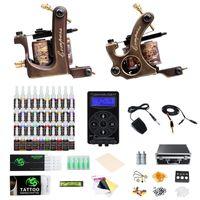 2 Kompass Stahl Tattoos Kits Maschinengewehre Best Power Supply 40 Farben Ink Professional Tattoo Kit