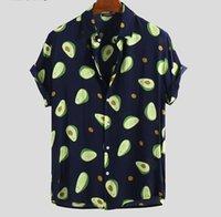 2020 Moda uomo Camicia hawaiana Manica corta Avocado Pulsante Stampa Pulsante Streetwear Streetwear Camicia per vacanze estive Uomini Camisa S-5XL