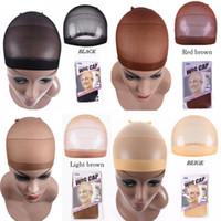 2adet / Saç Mesh Peruk Cap Saç Nets Gerdirilebilir Unisex Elastik kubbe kapağı ücretsiz boyut fabrika doğrudan satış paketi