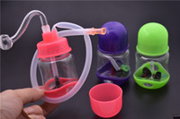 Мини-Бонг толстые Dab буровой установки барботер пластиковые нефтяной вышки пьянящий Dab буровые установки 10 мм мужской стакан водопровод небольшой Бонг с 10 мм стекла горелки трубы