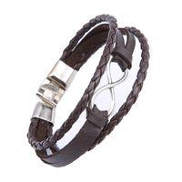 Bracelets pour Multilayer Wrap Hommes Femmes Infinity Argent Number Eight Brun Noir Véritable vache en cuir tressé Charm Fashion Bangles Bijoux