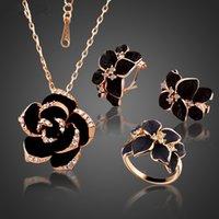 Mode Rose Fleur émail Parure couleur or rose peinture noire Bijoux de mariée pour les femmes mariage