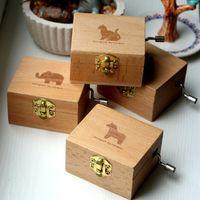 Mini Scatola di musica in legno Cartoon Animal Conbbit Elephant Puppy Bear Musical strumento Musica Musica Blank Case