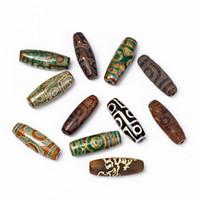 15 * Tibet 2 Gözler, 9 Gözler Dzi doğal akik taşları DIY Kolye Kolye için antik eski gevşek boncuk boncuklu 40