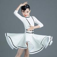 Сцена носить латинское танцевальное платье для детей костюм девушки белая практика танцевальная одежда детей CHA спектакль конкурс Latino 3416