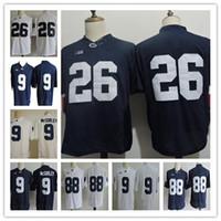 Magliette da uomo economici Penn State Nittany College 26 Barkley 9 Trace McSorley 88 Gesicki 2 Marcus Allen Camicie bianche cucite blu scuro PSU