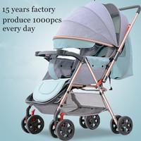 Multifunktionskinderwagen Kinderwagen liegen und Falten und mach Zwei-Wege-Baby-Regenschirm Wagen für Neugeborene Babys