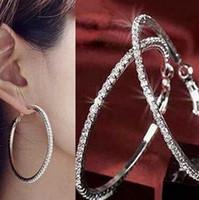 Дизайнерские серьги S925 стерлингов серебряные серьги Хооп круг серьги ювелирные подарки Женщины Девушки Модный алмаз 4.5cm специально кристаллический камень