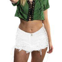 White Lace-up Side Destroy Pantalones cortos de mezclilla rasgados Summer High Street Cintura media Pantalones vaqueros cortos Shorts Casual Denim para mujer